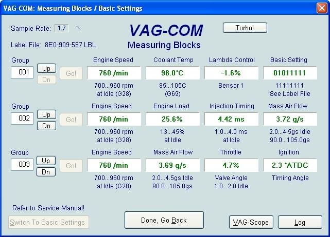 VAG Блог (Audi, Volkswagen, Skoda, Seat, Porsche): Диагностика мотора ALT 2.0 - общие показатели(001-010) Audi A4 (8E) рис. 1
