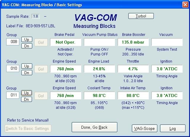VAG Блог (Audi, Volkswagen, Skoda, Seat, Porsche): Диагностика мотора ALT 2.0 - общие показатели(001-010) Audi A4 (8E) рис. 3