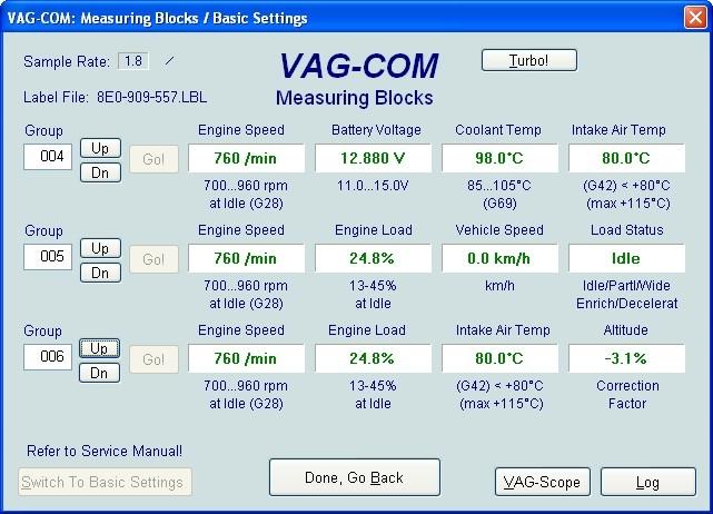 VAG Блог (Audi, Volkswagen, Skoda, Seat, Porsche): Диагностика мотора ALT 2.0 - общие показатели(001-010) Audi A4 (8E) рис. 2